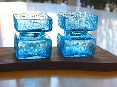 2 Riihimäen Lasi 'Pala' in Azure Blue glass by MarthesVintage Vase, Nordic Design, Finland, Scandinavian, Pottery, Ceramics, Handmade Gifts, Ceramica, Ceramica