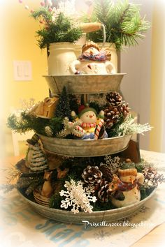 Priscillas: A Year of the Galvanized Tiered Tray w/pinecones, snowmen, greenery, etc.