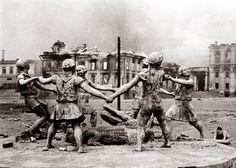 "Emmanuel Evzerihin - Fountain ""Dancing Children"" after German bombing. Stalingrad, 1942."