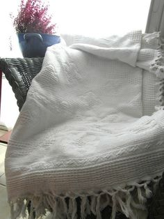 Large white matelasse bedspread cover throw. by frenchvintagedream