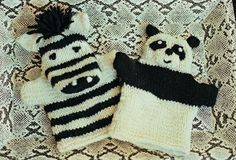 Panda And Zebra Hand Puppets  •  Free tutorial with pictures on how to make a panda plushie in under 120 minutes