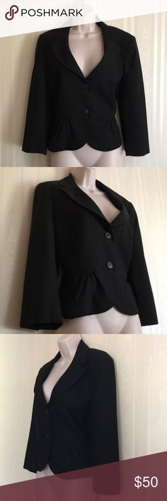 LOFT traditional black blazer jacket NEVER WORN A closet staple, perfect for business meetings and day work wear.  Two front buttons, thin shoulder pads. Versatile and classic.  Never worn, but has been washed.  Don't miss! LOFT Jackets & Coats Blazers