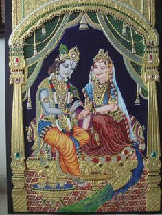 Radha Krishna Tanjore Painting For sale. 22k gold foil and real Swarovski studded with 3D Mandap. Contact: 9393786789 or meghaagrawal85@gmail.com