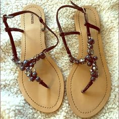 Express Beaded Sandals Very pretty beaded Express sandals. Worn twice! Express Shoes Sandals