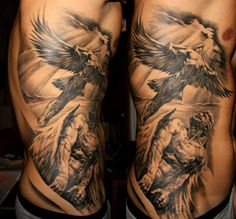 Rib cage tattoo of Icarus flight. Stunning details.