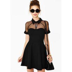 Vestido combinado gasa hueca-negro