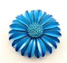 Vintage Flower Brooch Enamel Jewelry Deep Cobalt by kiamichi7, $22.00
