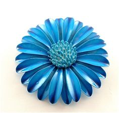 Vintage Flower Brooch Enamel Jewelry Deep Cobalt by kiamichi7, $22.00