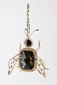 Anthropologie Beetle Gem Ornament, Black & Gold Sparkly Insect By Katherine's #KatherinesCollection