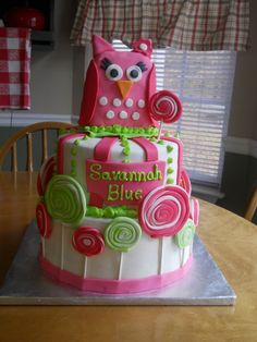 Lollipop Owl Birthday cake