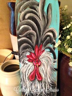 rooster painting wall decor rooster decor by CottageDesignStudio 32.00 rooster décor, kitchen décor, funky chicken, chicken coop sign,