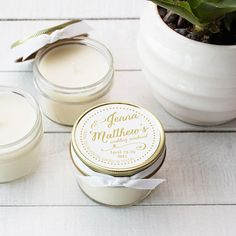 Set of 12 4 oz Soy Candle Wedding Favors Jenna Label