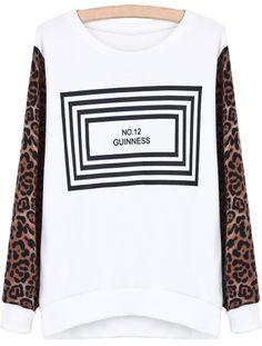 White Contrast Leopard Long Sleeve Sweatshirt - Sheinside.com