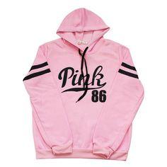 Women Fashion Pink Hoodie Sweatshirt