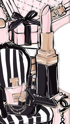 Iphone Wallpaper – Illustrations, cosmetics, make up, beauty - Wallpaper Chanel Wallpapers, Makeup Wallpapers, Cute Wallpapers, Coco Chanel Wallpaper, Iphone Wallpapers, Pink Makeup Wallpaper, Moda Wallpaper, Wallpaper Backgrounds, Backgrounds Girly