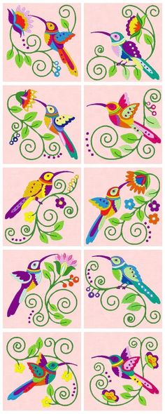 Embroidered Jacobean Hummingbirds: