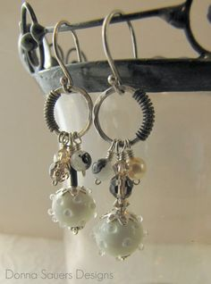 Symphony in White Circle Earrings | Handmade glass beads | Donna Sauers Designs | $62