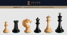 The Apollo Series chess pieces in boxwood and ebony. These masterfully designed and carved inch chessmen come with two interchangeable king's finials. Hand-made in India. A luxury product of Design Chess.