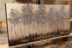 """Silver tree Painting 48"""" x 24"""" Original Abstract Textured Landscape Painting by Osnat - MADE-TO-ORDER $560.00"""