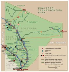 Map of Kgalagadi Transfrontier Park, South Africa - Botswana: shows Park gates and camps, travel information links, hides, picnic sites Africa Map, West Africa, Africa Travel, Wilderness South Africa, Art Journal Challenge, Provinces Of South Africa, Wildlife Park, The Beautiful Country, Travel Information