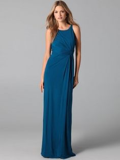 2013 Style Sheath / Column Scoop  Ruffles  Sleeveless Floor-length Chiffon Blue Prom Dress / Evening Dress