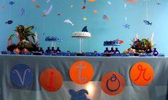 Decoração para festa de aniversário infantil fundo do mar