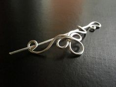 Celtic Shawl Pin, Scarf Pin, Sweater Brooch, Hair Pin, Knitting Accessories, Silver Wire pin