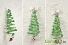 Finish the wire Christmas tree earrings instructions