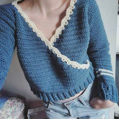 This crochet pattern is for a beautiful, reversible (! Named for my sophisticated Grandmother, who loved both functional clothing and the sea - my version features nautical colors. Pull Crochet, Crochet Baby, Knit Crochet, Crotchet, Crochet Sweaters, Crochet Tops, Crochet Clothes, Diy Clothes, Crochet Crafts