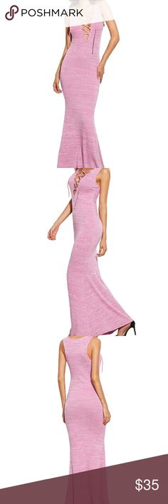 NWOT Pink Bodycon Lace Up Maxi Dress Brand new sexy maxi dress with lace up detail. Sleeveless and slim fit. Dresses Maxi