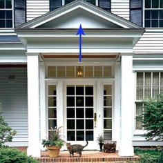 How to add curb appeal with a portico using columns and detailed molding to create an eye catching roof structure in the front of our home. Portico Design, House Entrance, House Front, House Exterior, Exterior Design, Beautiful Doors, Front Porch Design, Front Door Entrance, Curb Appeal