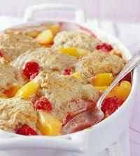 Vegetarian: Peach-berry cobbler.  I took this to my in-laws yesterday for dinner and even some picky eaters seemed to enjoy it.  A healthy alternative to cobbler.