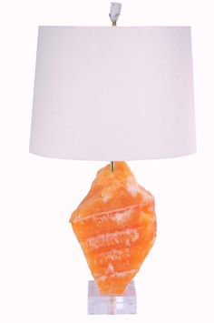 Orange Calcite Lamp // available at www.handcutdesign.com Bone And Joint, Vitamins And Minerals, Table Lamp, Canning, Orange, Lighting, Bones, Home Decor, Decoration Home