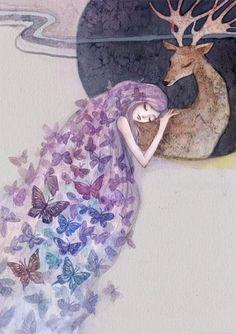 Art And Illustration, Art Illustrations, Fantasy Kunst, Fantasy Art, Nanu Nana, Butterfly Art, Whimsical Art, Beautiful Artwork, Akita