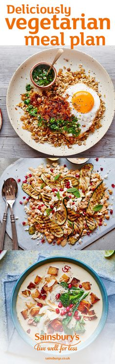 Make everyone jealous with these tasty vegetarian recipes. Follow these healthier Sainsbury's recipes and make vegetarian food to satisfy the taste buds, including Ratatouille strata recipe is packed to the brim with courgettes, aubergines, cherry tomatoes and crunchy sourdough croutons. Why not try pomegranate and coconut laksa packed with traditional Asian flavours or fried egg mujadarra, great Middle Eastern comfort food.