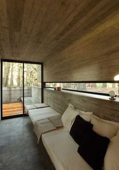 Lounge of Concrete Houses Design in Forest Area