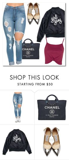 """Girl Gang"" by tornmer ❤ liked on Polyvore featuring Chanel, Jimmy Choo, Topshop, GetTheLook, contest, girly and polyvorecontest"