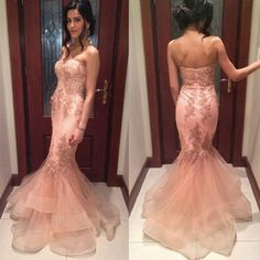 New Appliques Tulle Sweetheart Mermaid Ruffles Sleeveless Prom Dresses 2016…