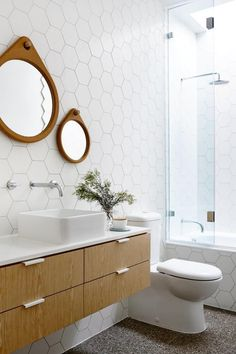 ChicDecó: | bathroom • round mirrors • wooden drawers • hexagonal tiles