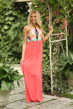 Tropical ripple maxi coral modern vintage boutique fashion luv