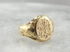 Egyptian Revival Signet Ring in Fine Gold Art by MSJewelers