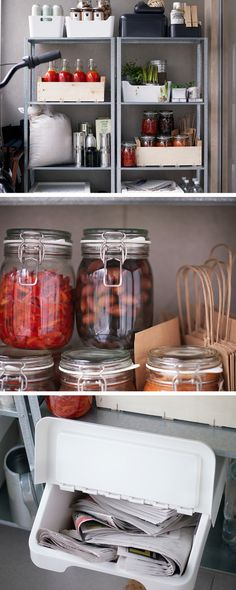 Short on kitchen space? Move some of it outdoors. A free standing unit in a shaded area is a great space to store preserves in airtight containers. You can also move your recycling outside.