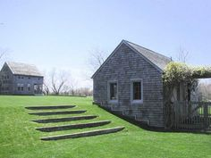steps in the lawn -- Rumsey Farber landscape architects. Great idea for a divot on a hillside that just won't grow.
