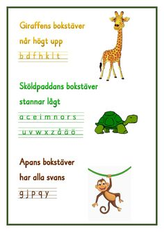 Giraffens bokstäver .pdf - OneDrive Teaching Letters, Teaching Writing, Teacher Education, School Teacher, Alphabet Activities, Classroom Activities, Too Cool For School, Back To School, Learn Swedish