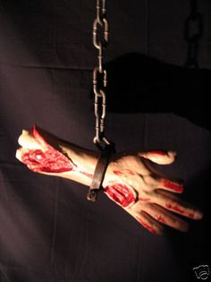 HALLOWEEN BLOODY BUTCHER ARM CHAIN PROP BODY PART