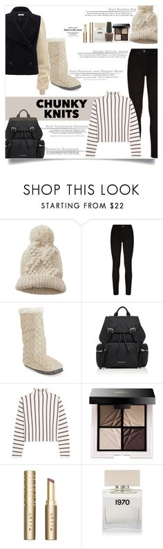 """""""B&W Chunky Knits"""" by elimarga ❤ liked on Polyvore featuring Betty Barclay, Paige Denim, H&M, Aéropostale, Burberry, Maje, Lash Star Beauty, Stila, Bella Freud and OPI"""