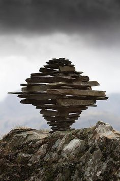 Photo of Castle Crag Tornado Cairn. Royalty-free image by Copyright Richard Shilling