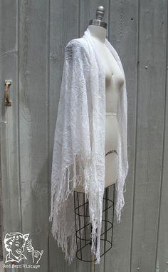 Vintage Large White Triangle Shawl with Fringe