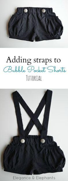 Elegance & Elephants: Adding Removable Straps to Bubble Pocket Shorts (or any shorts) Tutorial