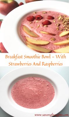 Breakfast Smoothie Bowl - A healthy morning usually includes a breakfast filled with fruits. Simple Breakfast Smoothie Bowl - With Strawberries And Raspberries made with only 4 ingredients. Best Breakfast Recipes, Breakfast Dishes, Breakfast Ideas, Vegetarian Breakfast, Healthy Smoothies, Smoothie Recipes, Raspberries, Strawberries, Haitian Food Recipes